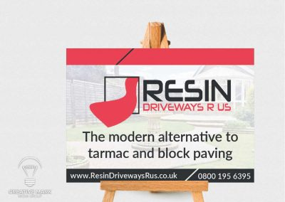 Outdoor business sign for paving company